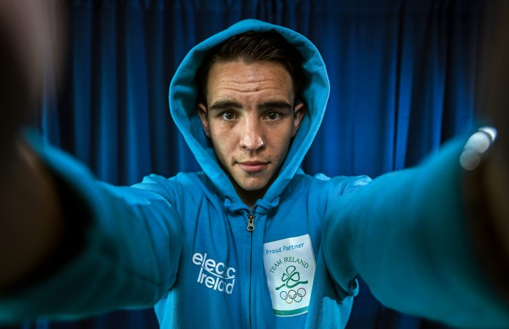 25 April 2016; Boxer Michael Conlan visits the ESB head office. Electric Ireland Internal Engagement with Michael Conlan. ESB Head Office, 27 Lower Fitzwilliam Street, Dublin. Picture credit: Ramsey Cardy / SPORTSFILE *** NO REPRODUCTION FEE ***